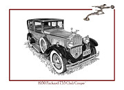 Cards Vintage Drawings Framed Prints - 1930 Packard 733 Club Sedan Framed Print by Jack Pumphrey