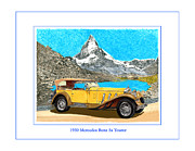 Watercolor Art Prints Posters - 1930 Ss Mercedes Benz Tourer Poster by Jack Pumphrey