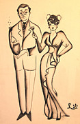 Theater Drawings - 1930s Couple on the Town by Art By Tolpo Collection