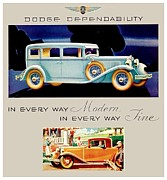 1928 Dodge Brothers Framed Prints - 1931 - Dodge Sedan and Coupe Automobile Advertisement - Color Framed Print by John Madison