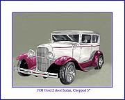 Hotrod Drawings Posters - 1931 Ford 2 door sedan Street-Rod Poster by Jack Pumphrey