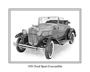 Pen And Ink Framed Prints Drawings Posters - 1931 Ford Convertible Poster by Jack Pumphrey