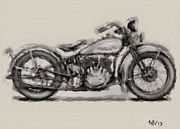 Wayne Bonney Digital Art Framed Prints - 1931 Harley Model D Framed Print by Wayne Bonney