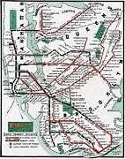 Subway Metal Prints - 1931 Map Brooklyn Manhattan Transit Metal Print by BMT Lines