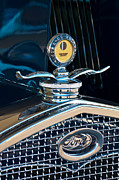 Historic Vehicle Prints - 1931 Model A Ford Deluxe Roadster Hood Ornament Print by Jill Reger