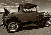 Ford Model T Car Photo Framed Prints - 1931 Model T Ford monochrome Framed Print by Steve Harrington
