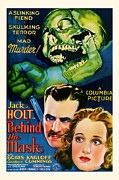 Scared Mixed Media Prints - 1932 Behind The Mask Vintage Movie Art Print by Presented By American Classic Art