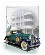 Automobile Artwork. Prints - 1932 Buick 96 Convertible Coupe Print by Roger Beltz