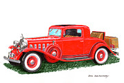 Cadillac Painting Posters - 1932 Cadillac Rumbleseat Coupe Poster by Jack Pumphrey