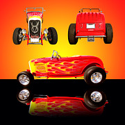Shows Prints - 1932 Ford Flaming Hotrod Print by Jim Carrell