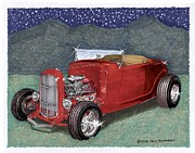 Classic Car Art Drawings - 1932 Ford High Boy by Jack Pumphrey