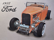 Tires Drawings Posters - 1932 Ford Poster by Paul Kuras