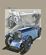 Antique Car Art Posters - 1932 MG J2 Midget Poster by Roger Beltz