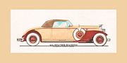 Classic Car Art Drawings - 1932 Packard All Weather Roadster by Dietrich concept by Jack Pumphrey