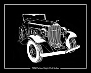 Note Cards Drawings Prints - 1932 Packard Light Eight Print by Jack Pumphrey