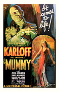 Scared Mixed Media Prints - 1932 The Mummy Vintage Movie Art Print by Presented By American Classic Art