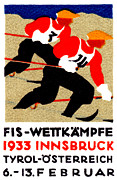 Skiing Poster Paintings - 1933 Austrian Ski Race Poster by Historic Image