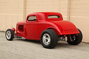 Red Street Rod Posters - 1933 Ford Coupe Street Rod Poster by Sanely Great