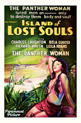 Featured Mixed Media Prints - 1933 Island of Lost Souls Vintaage Movie Art Print by Presented By American Classic Art