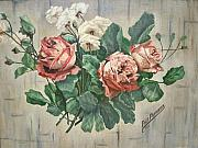 White Roses Framed Prints - 1933 Pappas Roses Framed Print by Sigrid Tune