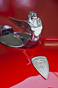 Red Photo Posters - 1933 Plymouth Hood Ornament Poster by Jill Reger