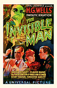 Featured Mixed Media Prints - 1933 The Invisible Man Vintage Movie Art Print by Presented By American Classic Art