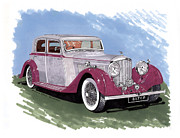 Quick Painting Posters - 1934 Bentley Sport Sedan Poster by Jack Pumphrey