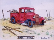 Old Fence Posts Mixed Media Posters - 1934 Ford Poster by Don Hand