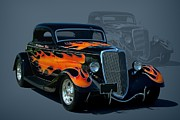 Hot Rod Flames Posters - 1934 Ford Hot Rod Poster by Tim McCullough