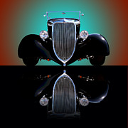 Black Car Posters - 1934 Ford Phaeton Convertible Poster by Jim Carrell