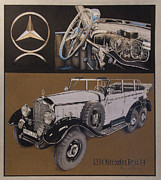 Mercedes Automobile Drawings - 1934 Mercedes Benz by Mario Basinger
