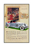 Advertisement Mixed Media Prints - 1934 Packard 12   1107 Roadster Vintage ad Print by Jack Pumphrey