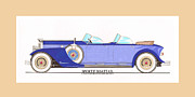 Classic Car Art Drawings - 1934 Packard Sportif Boattail Concept by Dietrich by Jack Pumphrey