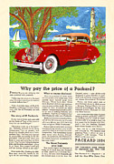 Advertisement Mixed Media Prints - 1934 Packard V 12 Advertisment Print by Jack Pumphrey