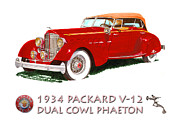 1916 Mixed Media Posters - 1934 Packard V-12 Dual Cowl Phaeton Poster by Jack Pumphrey