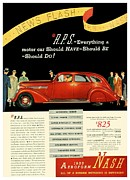 Lafayette Digital Art Prints - 1935 - Nash Aeroform Automobile Advertisement - Color Print by John Madison