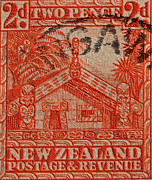 Pence Posters - 1935 Carved Maori House New Zealand Stamp Poster by Bill Owen
