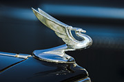 Blue Classic Car Posters - 1935 Chevrolet Sedan Hood Ornament Poster by Jill Reger