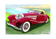 Beach Prints Drawings Posters - 1935 Mercedes Benz 540 K Pebble Beach Poster by Jack Pumphrey