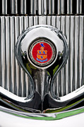 Car Show Photography Posters - 1935 Pierce-Arrow 845 Coupe Emblem Poster by Jill Reger