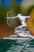 Transportation Tapestries Textiles Prints - 1935 Pierce-Arrow 845 Coupe Hood Ornament Print by Jill Reger