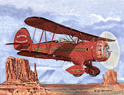 Post Cards Painting Originals - 1935 Waco Bi-Plane by Jack Pumphrey