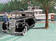 British Classic Cars Posters - 1936 Bentley Waving to Malibu Poster by Jack Pumphrey