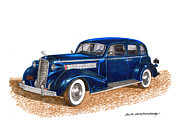 Radiator Drawings Posters - 1936 Cadillac Model 70 Fleetwood Sedan Poster by Jack Pumphrey