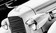 Headlight Prints - 1936 Cadillac V8 Monochrome Print by Tim Gainey