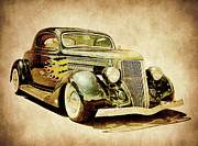 White Walls Framed Prints - 1936 Ford Hot Rod Framed Print by Steve McKinzie