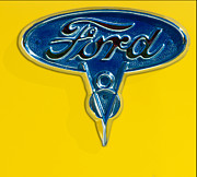 Old Car Posters - 1936 Ford Pickup Truck Emblem Poster by Jill Reger