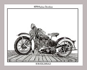 Net Drawings Prints - 1936 Harley Davidson Knucklehead Print by Jack Pumphrey