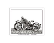 Pen And Ink Framed Prints Prints - 1936 Harley Knucklehead Print by Jack Pumphrey