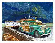 Yachts Drawings Prints - 1936 Hispano Suiza Shooting Brake Print by Jack Pumphrey